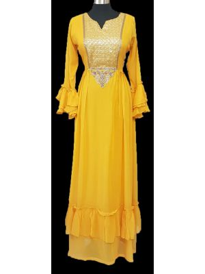 GEORGET CHIFFON GOWN - YELLOW - SIZE - 42, 44