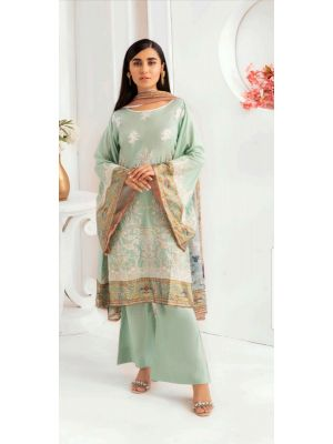 Pakistani Unstitched Party Wear Swiss Lawn Material With Embroidery Work 3 Pcs