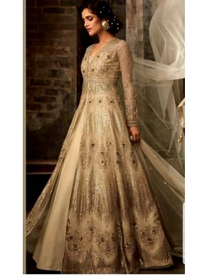 Unstitched Net Gown - Light Gold