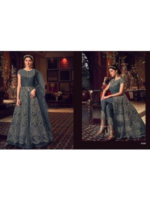 Unstitched Net Gown - Golden Gray