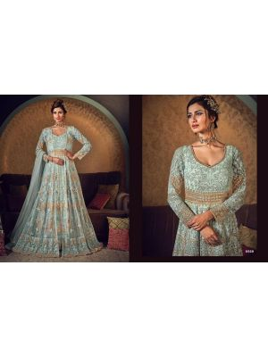 Unstitched Net Gown - Golden Sea Green