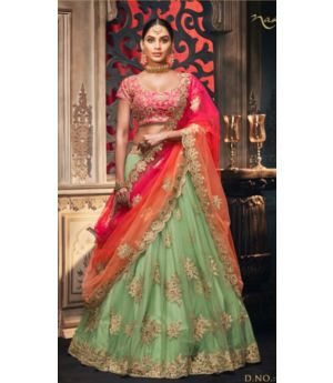 Unstitched Net Lehenga With Silk Top Best For Festive Seasons